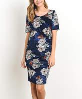 Navy Floral Velvet Ruched Maternity Dress