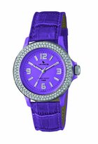 Swarovski Laurens Women's GW70J904Y Crystal Bezel Purple Dial Leather Watch