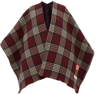 Gucci Reversible Check And Gg-jacquard Wool Poncho - Red Multi