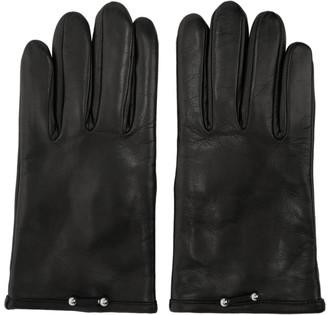 Neil Barrett Black Leather Pierced Gloves