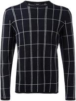 Theory grid knit jumper - men - Spandex/Elastane/Wool - L