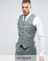 Heart & Dagger Slim Waistcoat In Summer Wedding Check