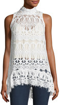Elliatt Piazza Lace-Overlay Top, White