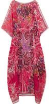 Etro Printed Silk Kaftan - Bright pink