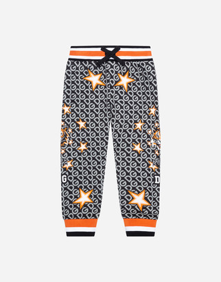 Dolce & Gabbana Jersey Jogging Pants With Tiger And Star Print