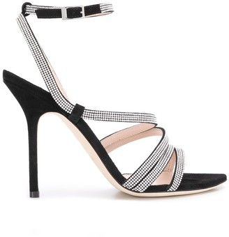 Pollini Crystal Embellished Strap Sandals