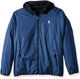 U.S. Polo Assn. Mens Standard Reversible Poly Shell To Fleece Hooded Jacket