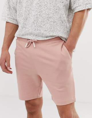 Selected jersey drawstring short in organic cotton-Pink