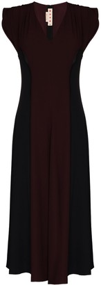 Marni Cap-Sleeve Panelled Midi Dress