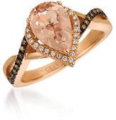 LeVian 0.24TCW Diamonds, Morganite and 14K Rose Gold Chocolatier Ring