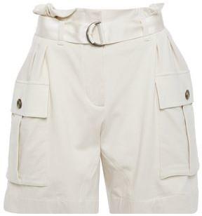 Brunello Cucinelli Belted Melange Stretch-cotton Jersey Shorts