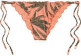 Vix Tropicus Ripple Printed Bikini Briefs - Coral