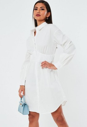 Missguided Petite White Long Sleeve Smock Dress
