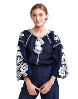 Cynthia Rowley Embroidered Balloon Sleeve Blouse