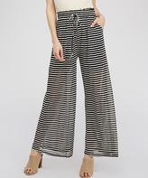 Simply Boho La Simply Boho LA Women's Casual Pants BLACK - Black & White Stripe Pocket Palazzo Pants - Women