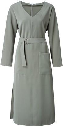 Ya-Ya Belted Dress with Pockets - Deep Green - 40 (12) | polyester | deep green - Deep green