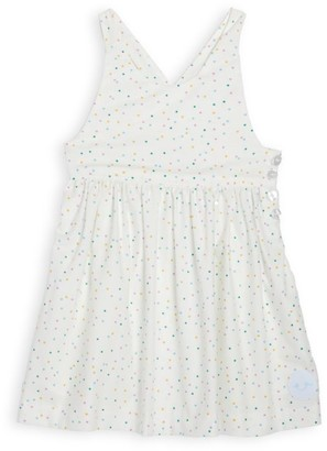 Smiling Button Baby's & Little Girl's Party Dot Cotton Dress