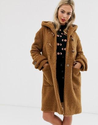 Asos Design DESIGN borg hooded duffle coat in brown