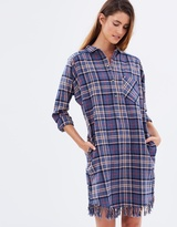 Maison Scotch HW Shirt Dress w Fringed Hem