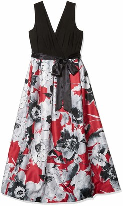 Chetta B Plus Size Womens Sleeveless Matte Jersey Surplice Bodice with Floral Mikado Skirt