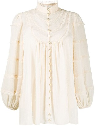 Zimmermann Lace-Embellished Dotted Blouse