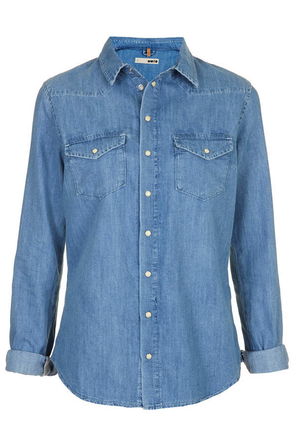 Topshop Moto vintage wash fitted shirt with western styling, 2 bust pockets and popper buttons. 100% cotton. machine washable.