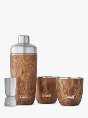 Swell Teakwood Cocktail Shaker and 295ml Tumblers Gift Set, 4 Piece