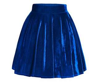Springfavor Womens Vintage Velvet Stretchy Flared A-Line Mini Skater Skirt (S