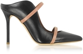 Malone Souliers Maureen Black and Nude Nappa High Heel Mule