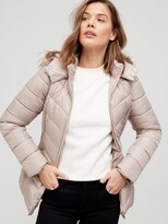 Thumbnail for your product : Very Short Padded Jacket With Faux Fur - Champagne