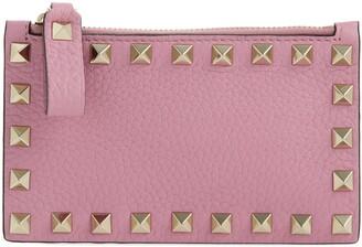 Valentino Garavani Rockstud Leather Zip Card Case