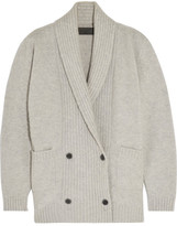 The Elder Statesman Double-breasted Cashmere-blend Cardigan - Light gray