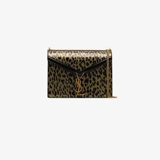 Saint Laurent black cassandra medium leopard print shoulder bag