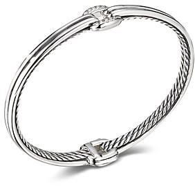 David Yurman Sterling Silver Thoroughbred Center Link Bracelet with Diamonds