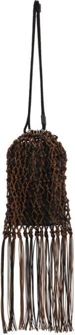Jil Sander Black and Brown Medium Net Drawstring Pouch