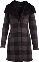 Steve Madden Women's Non-Denim Casual Jackets BLACK/GREY - Black & Gray Plaid Plush-Collar Button-Up Coat - Women & Plus