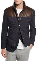 Brunello Cucinelli Quilted Nylon & Leather Vest, Navy