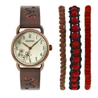 Kahuna Women's Quartz Watch with Beige Dial Analogue Display and Brown Leather Strap AKLS-0250L