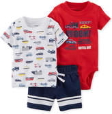 Carter's 3-Pc. Cotton Cars-Print T-Shirt, Bodysuit & Shorts Set, Baby Boys