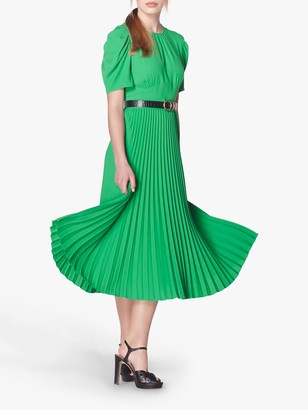 LK Bennett Avalon Crepe Pleated Dress, Bright Green