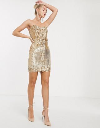 Goddiva sweetheart neck sequin mini dress in gold