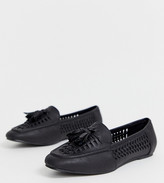 New Look Wide Fit wide fit pu woven loafer in black