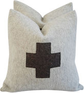 One Kings Lane Vintage Swiss Wool Appliqué Cross Pillows, Pair