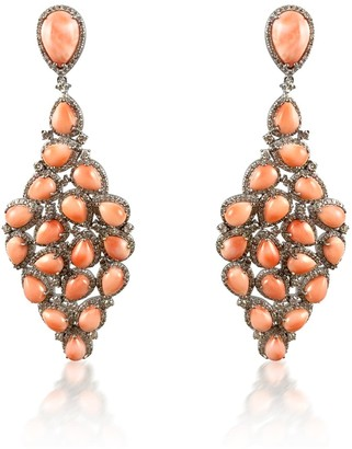 Pink Coral & Diamond Long Silver Earrings