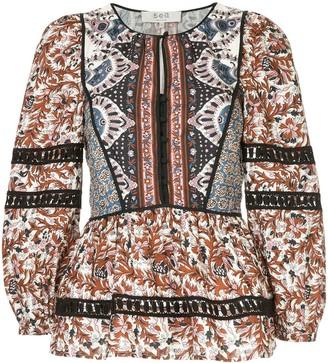 Sea Gemma Kantha stitch top