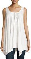 Neiman Marcus Strappy-Back Handkerchief-Hem Tank, White