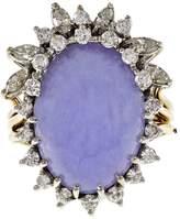 Vintage 14K Yellow Gold with Purple Lavender Jadeite Jade & Diamond Cocktail Ring Size 10