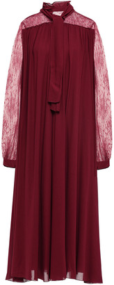 Giambattista Valli Pussy-bow Lace-paneled Gathered Crepe Midi Dress