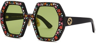 Gucci Crystal-embellished Oversized Sunglasses
