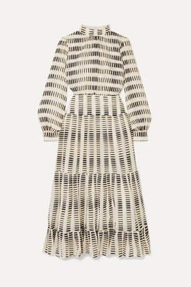Saloni Isabel B Tiered Fil Coupé Silk-blend Georgette Maxi Dress - Ecru